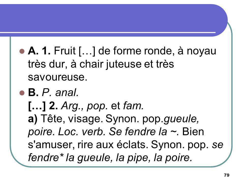 A. 1. Fruit […] de forme ronde, à noyau très dur, à chair juteuse et très savoureuse.